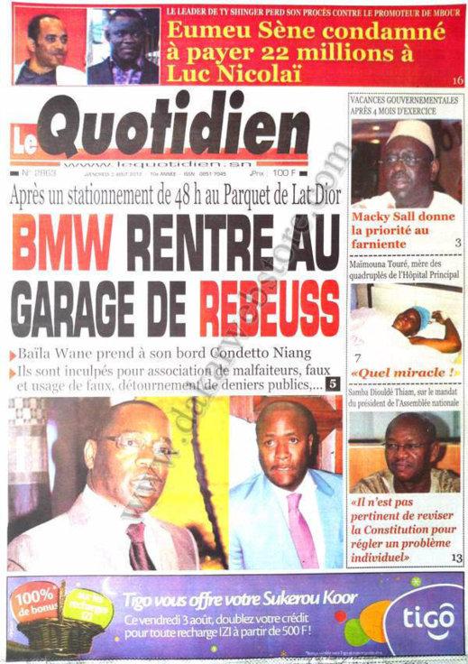 A la Une du Journal Le Quotidien du 03 Août