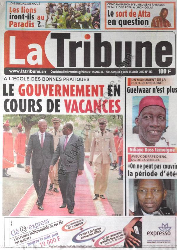 A la Une du Journal La Tribune du 04 Août
