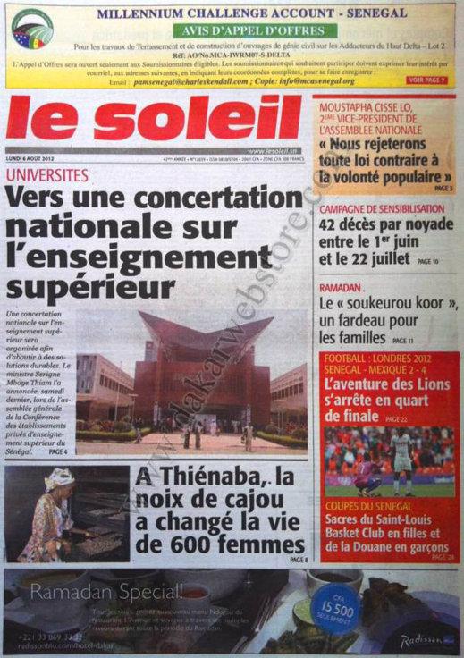 A la Une du Journal Le Soleil du 06 Août