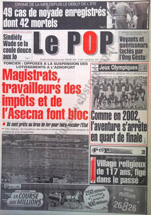 A la Une du Journal Le Populaire du 06 Août