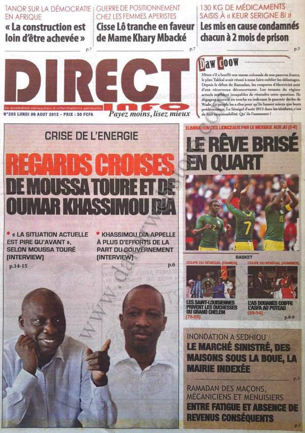 A la Une du Journal Direct Info du 06 Août
