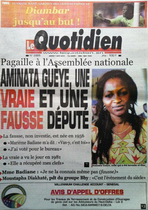 A la Une du Journal Le Quotidien du 07 Août