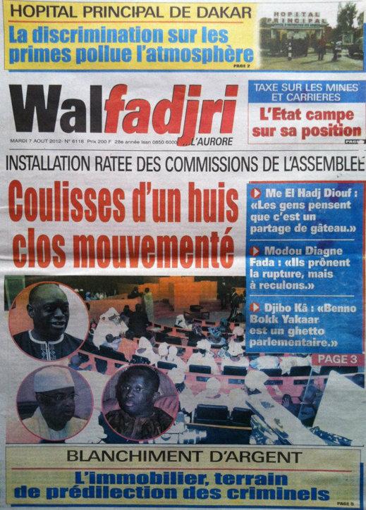 A la Une du Journal Walfadjri du 07 Août