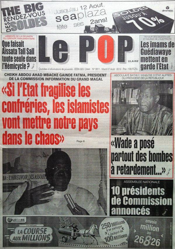 A la Une du Journal Le Populaire du 07 Août