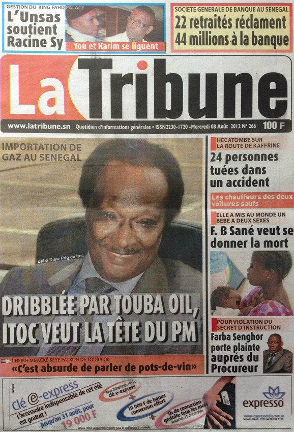 A la Une du Journal La Tribune du 08 Août