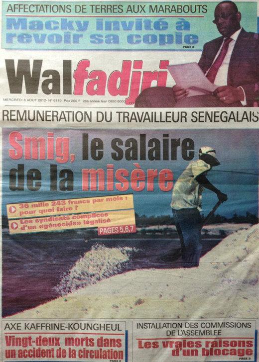A la Une du Journal Walfadjri du 08 Août