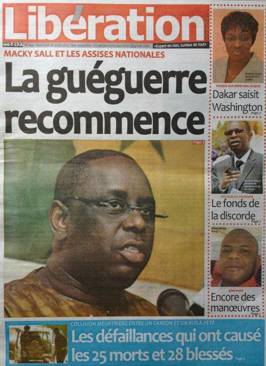 A la Une du Journal Libération du 08 Août