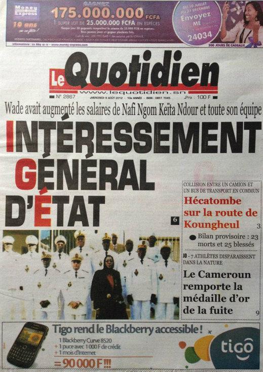 A la Une du Journal Le Quotidien du 08 Août