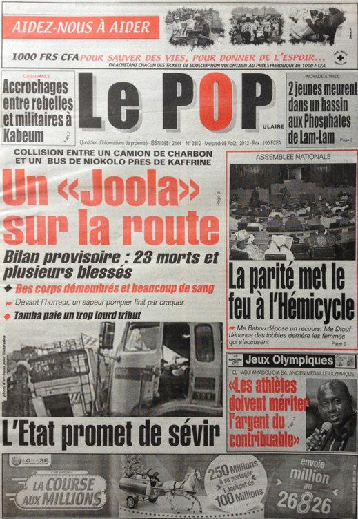 A la Une du Journal Le Populaire du 08 Août