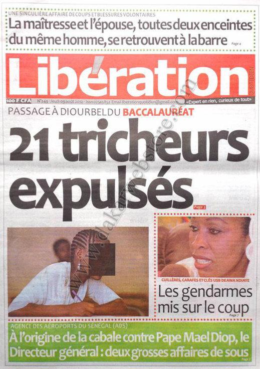 A la Une du Journal Libération du 09 Août