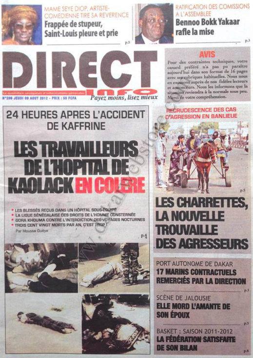 A la Une du Journal Direct Info du 09 Août