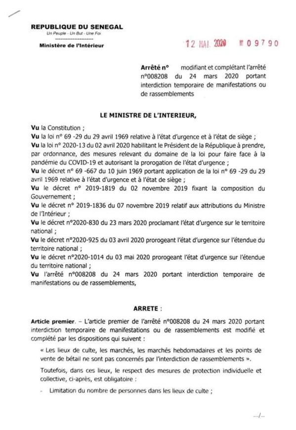 Arrêté après la déclaration présidentielle : Les nouvelles mesures d'Aly Ngouille Ndiaye