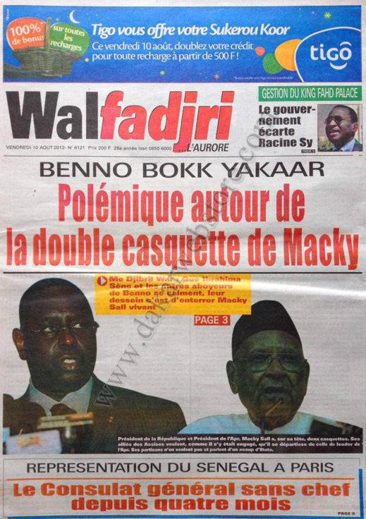 A la Une du Journal Walfadjri du 10 Août