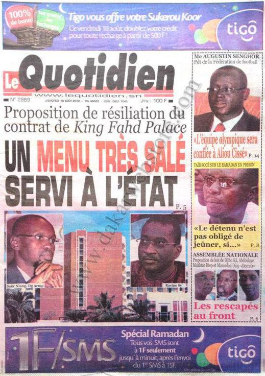 A la Une du Journal Le Quotidien du 10 Août