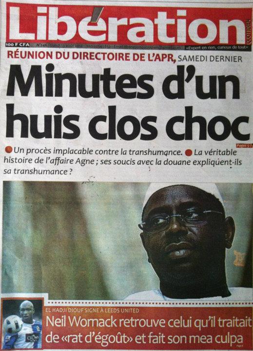 A la Une du Journal Libération du 13 Août