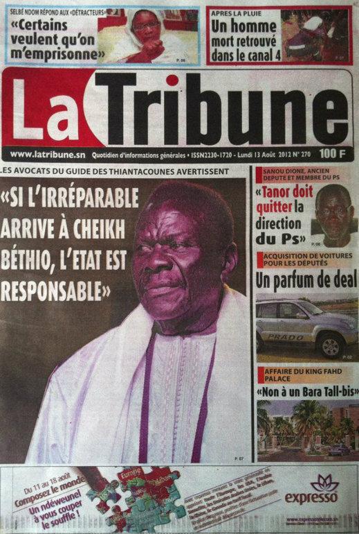 A la Une du Journal La Tribune du 13 Août