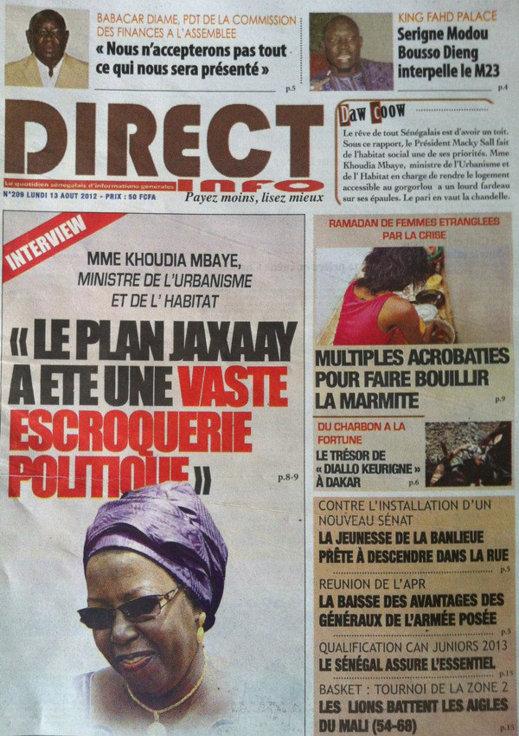 A la Une du Journal Direct Info du 13 Août