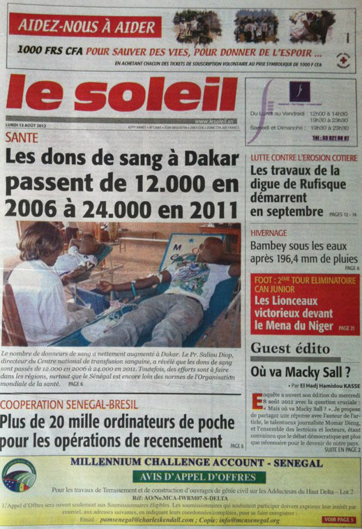 A la Une du Journal Le Soleil du 10 Août