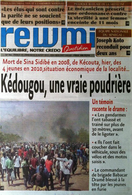 A la Une du Journal Rewmi du 14 Août