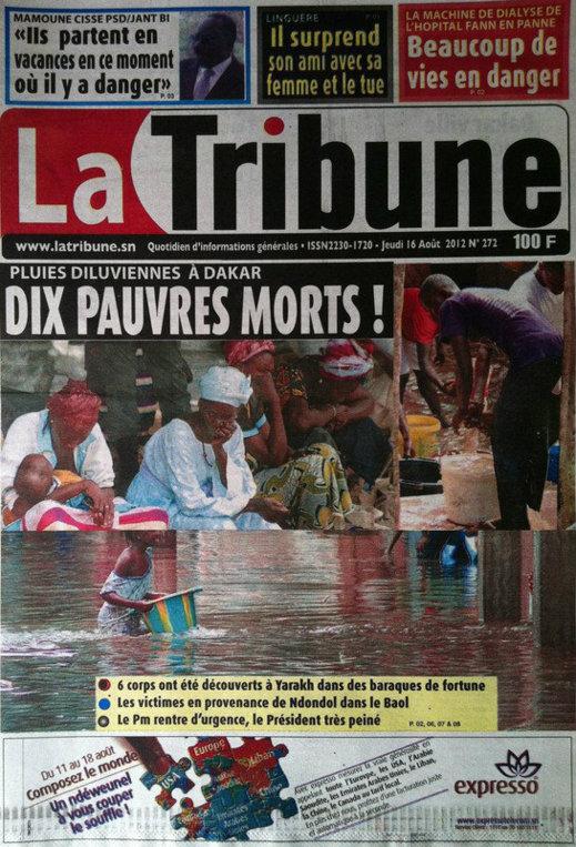 A la Une du Journal La Tribune du 16 Août