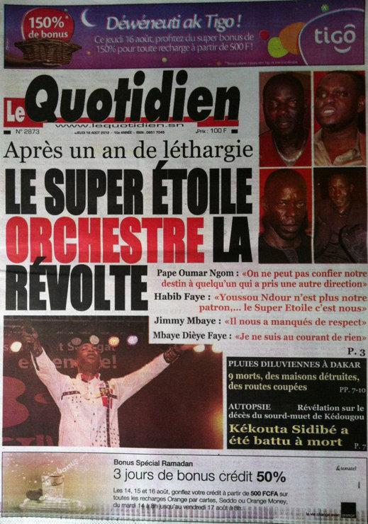 A la Une du Journal Le Quotidien du 16 Août