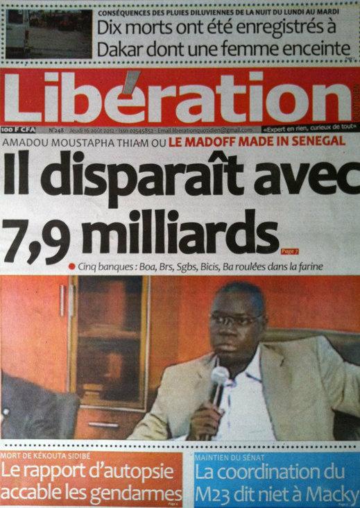 A la Une du Journal Libération du 16 Août
