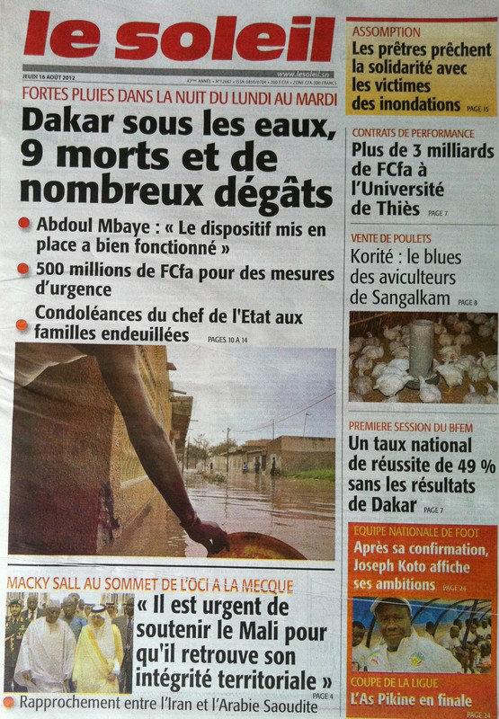 A la Une du Journal Le Soleil du 16 Août