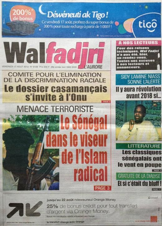 A la Une du Journal Walfadjri du 17 Août