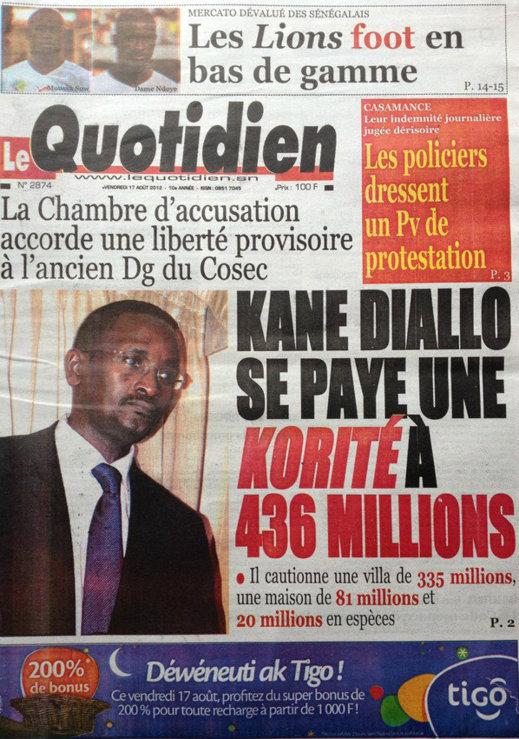 A la Une du Journal Le Quotidien du 17 Août