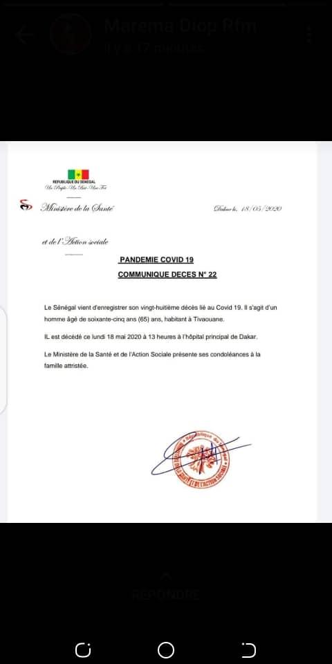 Covid-19: Le Sénégal vient d'enregistrer un 28e décès