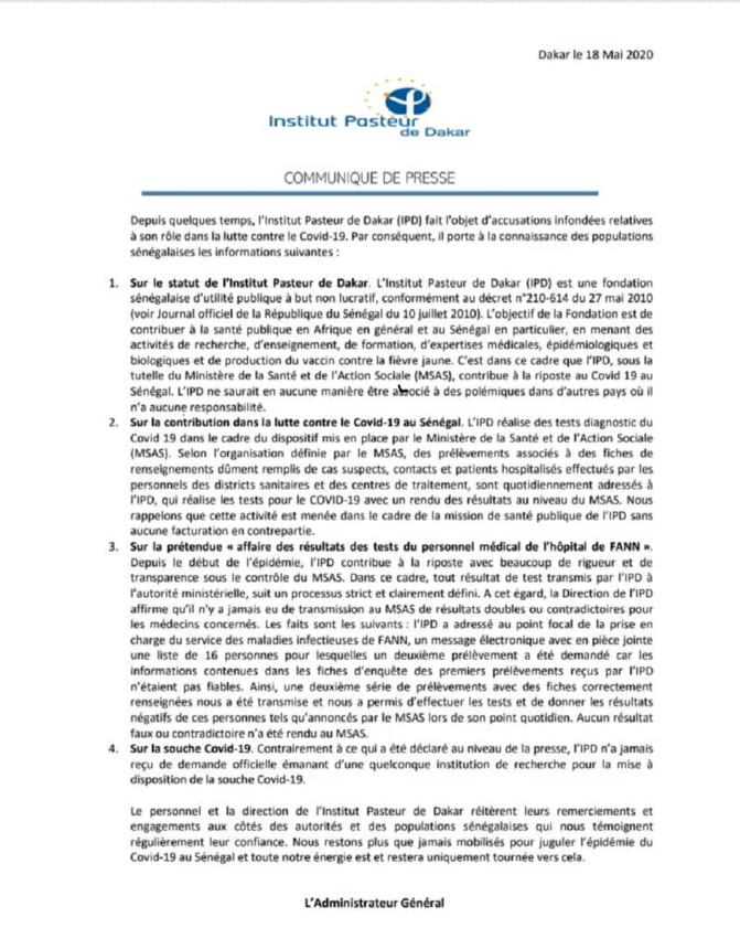 Failles présumées et accusations ternissant son image : l'Institut Pasteur de Dakar remet les pendules à l'heure