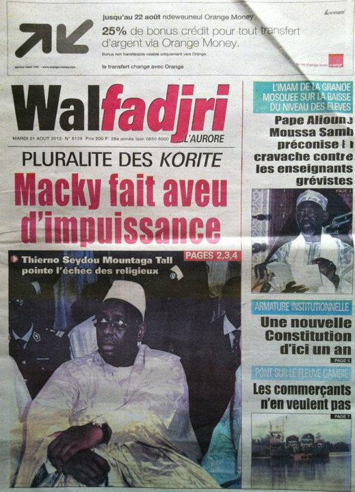 A la Une du Journal Walfadjri du 21 Août