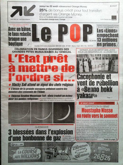 A la Une du Journal Le Populaire du 21 Août