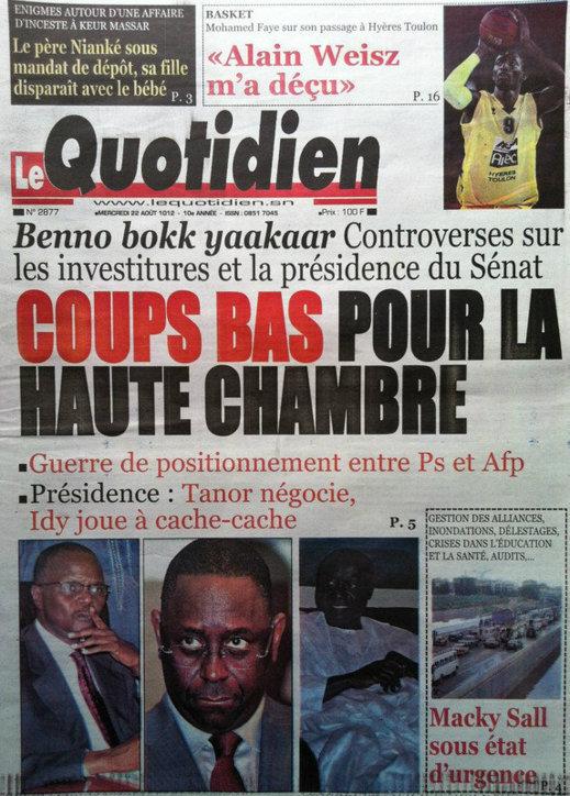 A la Une du Journal Le Quotidien du 22 Août