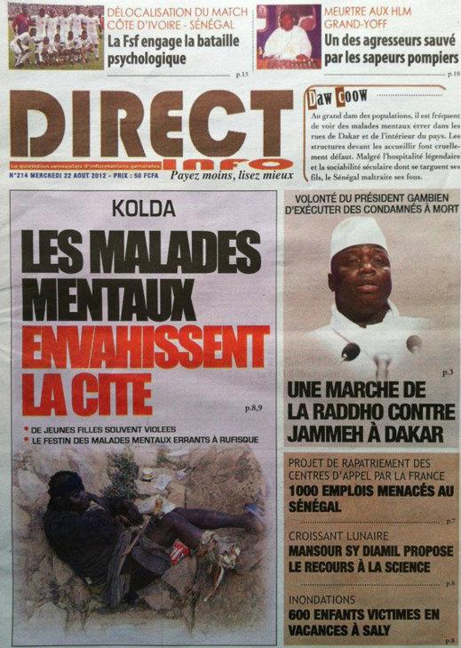 A la Une du Journal Direct Info du 22 Août