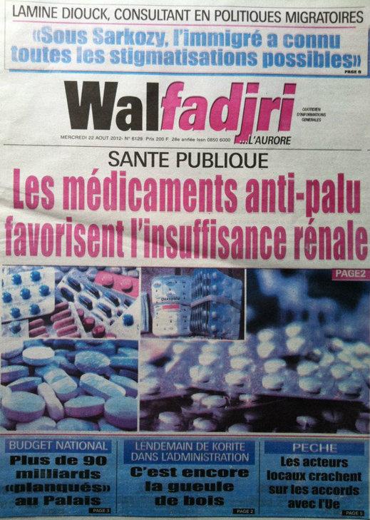 A la Une du Journal Walfadjri du 22 Août