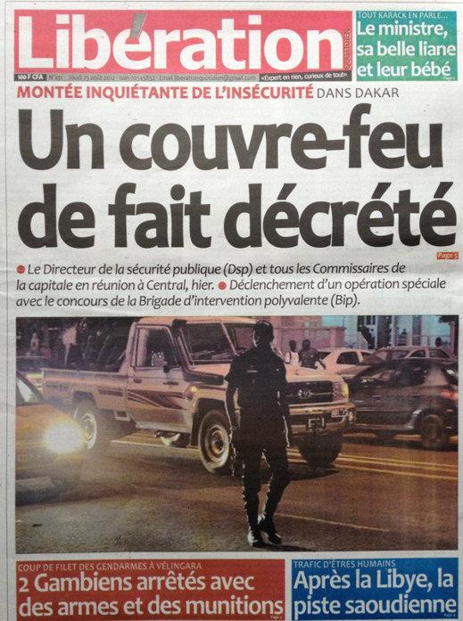A la Une du Journal Libération du 23 Août