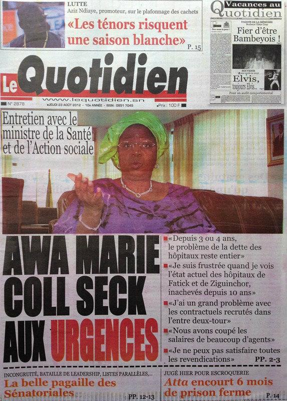 A la Une du Journal Le Quotidien du 23 Août