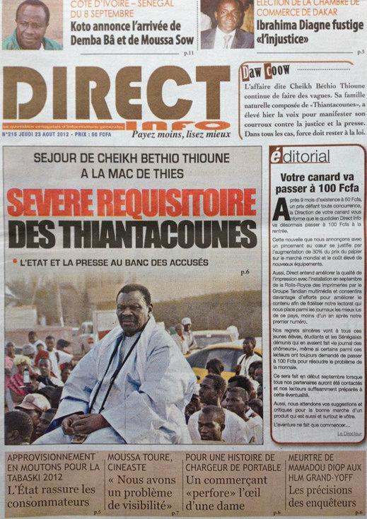 A la Une du Journal Direct Info du 23 Août