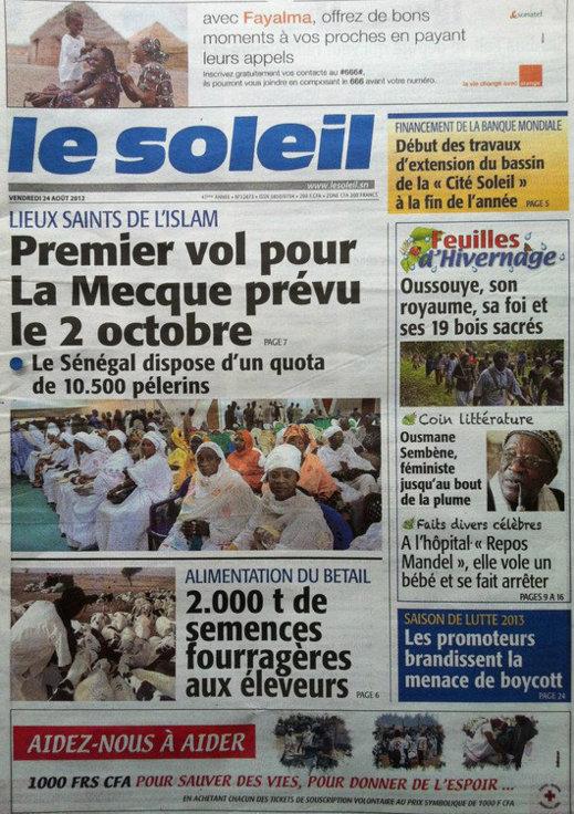 A la Une du Journal Le Soleil du 24 Août