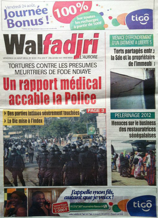 A la Une du Journal Walfadjri du 24 Août