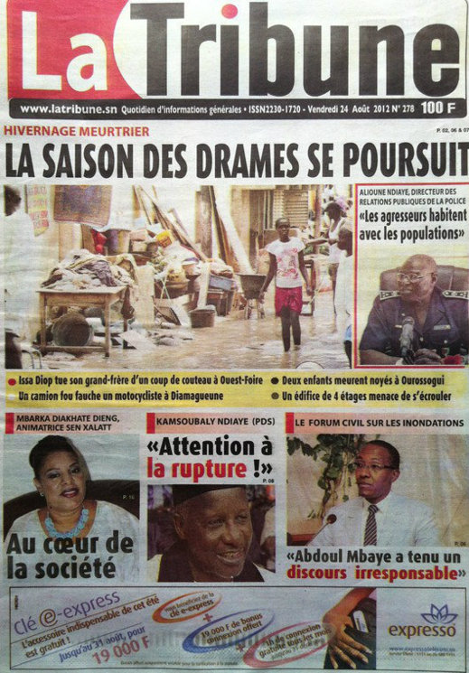 A la Une du Journal La Tribune du 24 Août