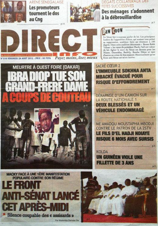 A la Une du Journal Direct Info du 24 Août