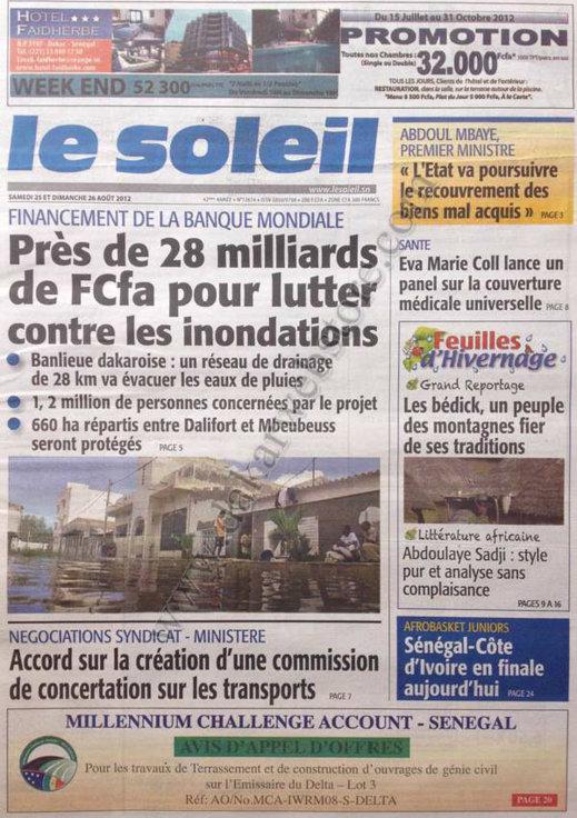 A la Une du Journal Le Soleil du 25 Août