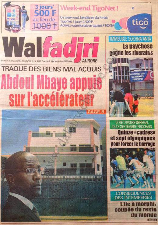 A la Une du Journal Walfadjri du 25 Août