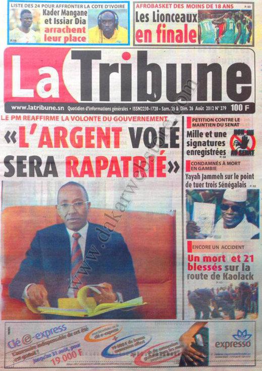 A la Une du Journal La Tribune du 25 Août