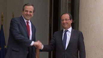 """Hollande assure à Samaras que """"l'Europe fera ce qu'elle doit"""" pour aider la Grèce"""
