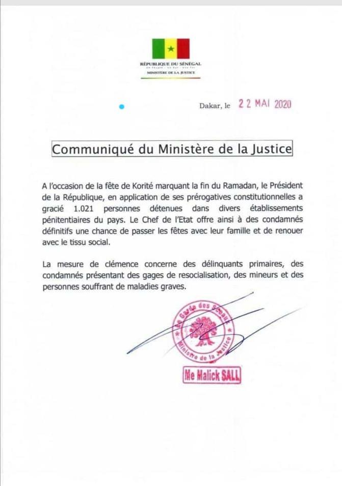 Fête de Korité: Le chef de l'Etat gracie 1021 détenus