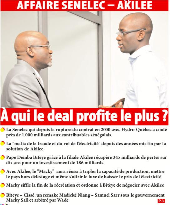 AFFAIRE SENELEC – AKILEE : À qui le deal profite le plus ?