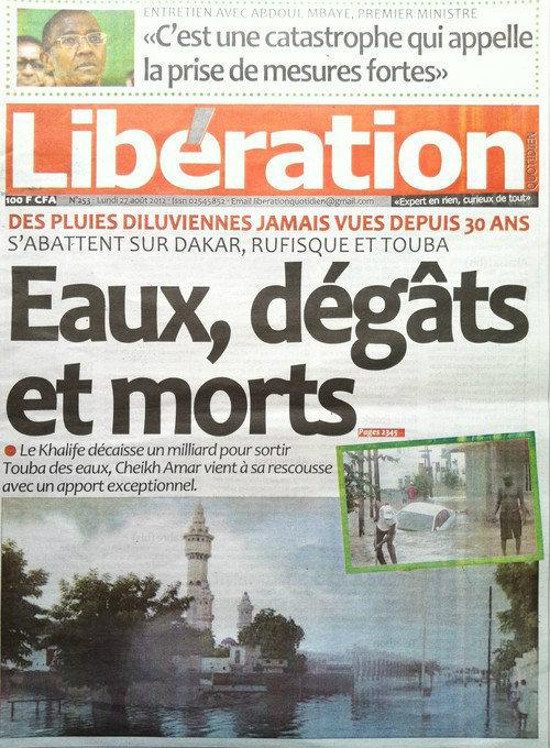 A la Une du Journal Libération du 27 Août